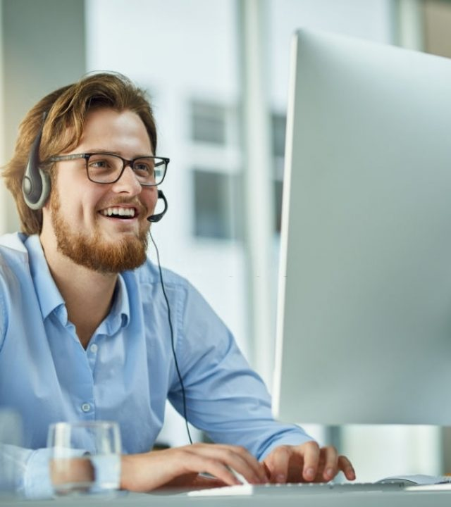 call centre agent working in an office